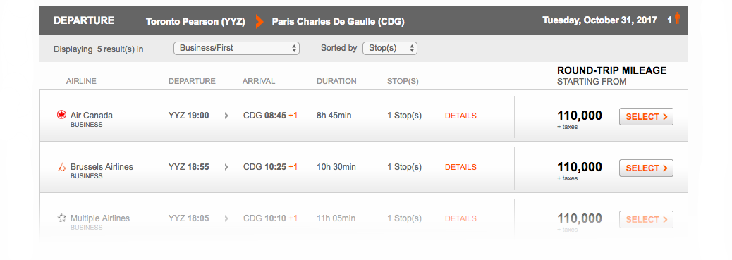 Aeroplan Search Result Toronto to Paris| Prince of Travel | Miles & Points
