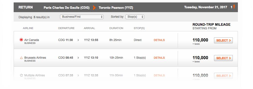 Aeroplan Search Result Paris to Toronto | Prince of Travel | Miles & Points