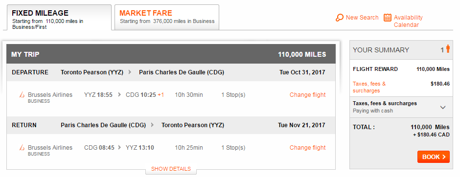 Aeroplan Toronto to Paris on Brussels Airlines No Fuel Surcharges | Prince of Travel | Miles & Points