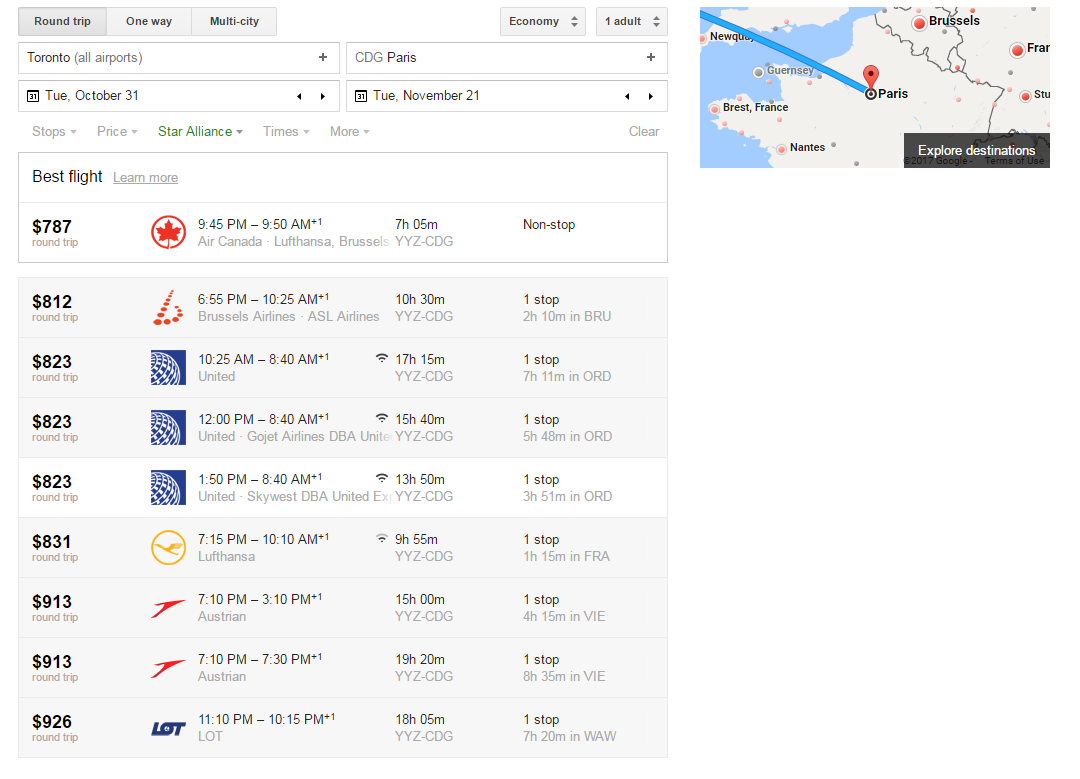 Google Flights Search Result Toronto to Paris | Prince of Travel | Miles & Points