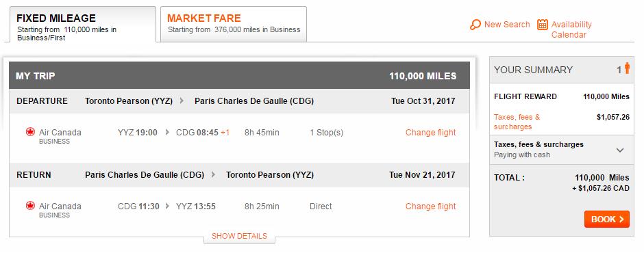 Aeroplan Toronto to Paris on Air Canada | Prince of Travel | Miles & Points