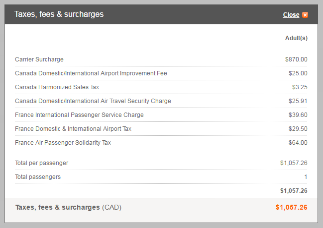 Aeroplan Taxes and Fees Surcharges | Prince of Travel | Miles & Points