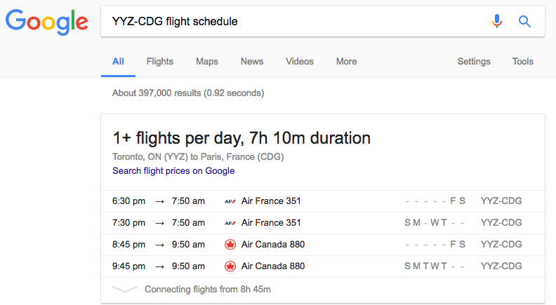 Google Flight Schedule Search Toronto to Paris | Prince of Travel | Miles & Points