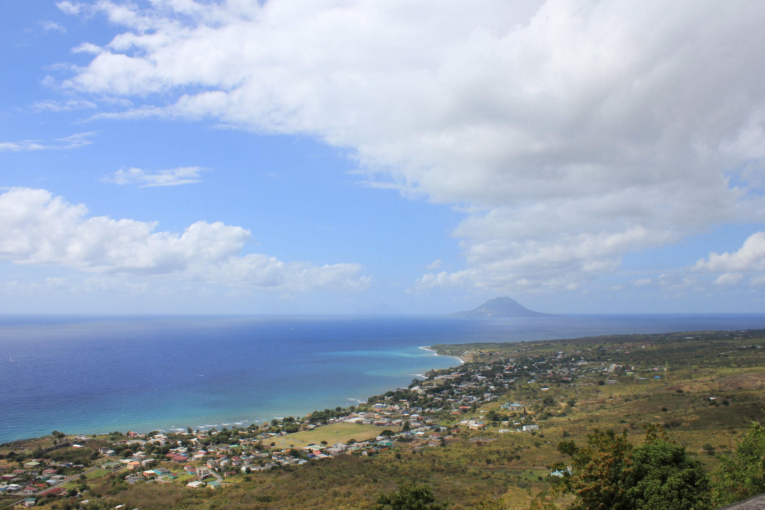 Brimstone Hill Fortress National Park – View of Sint Eustatius and (very faintly) Saba