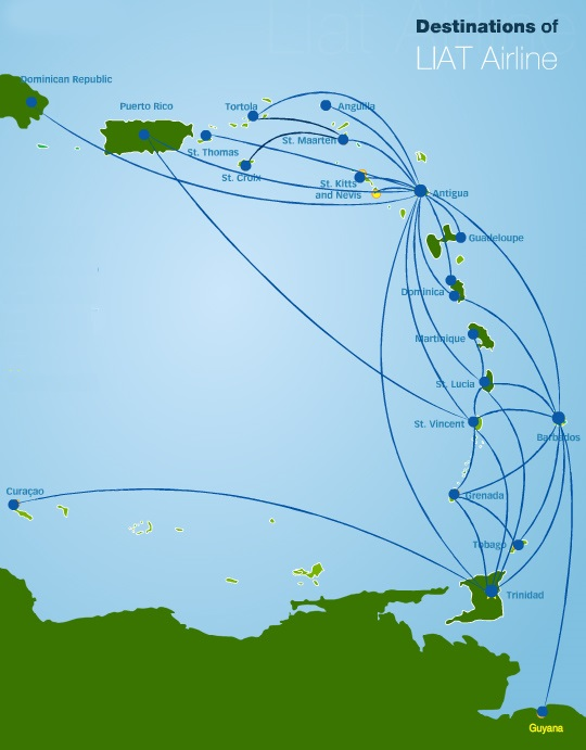 LIAT Route Map