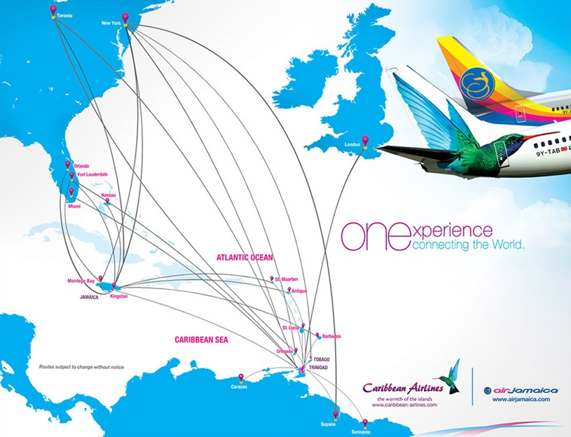 Caribbean Airlines Route Map