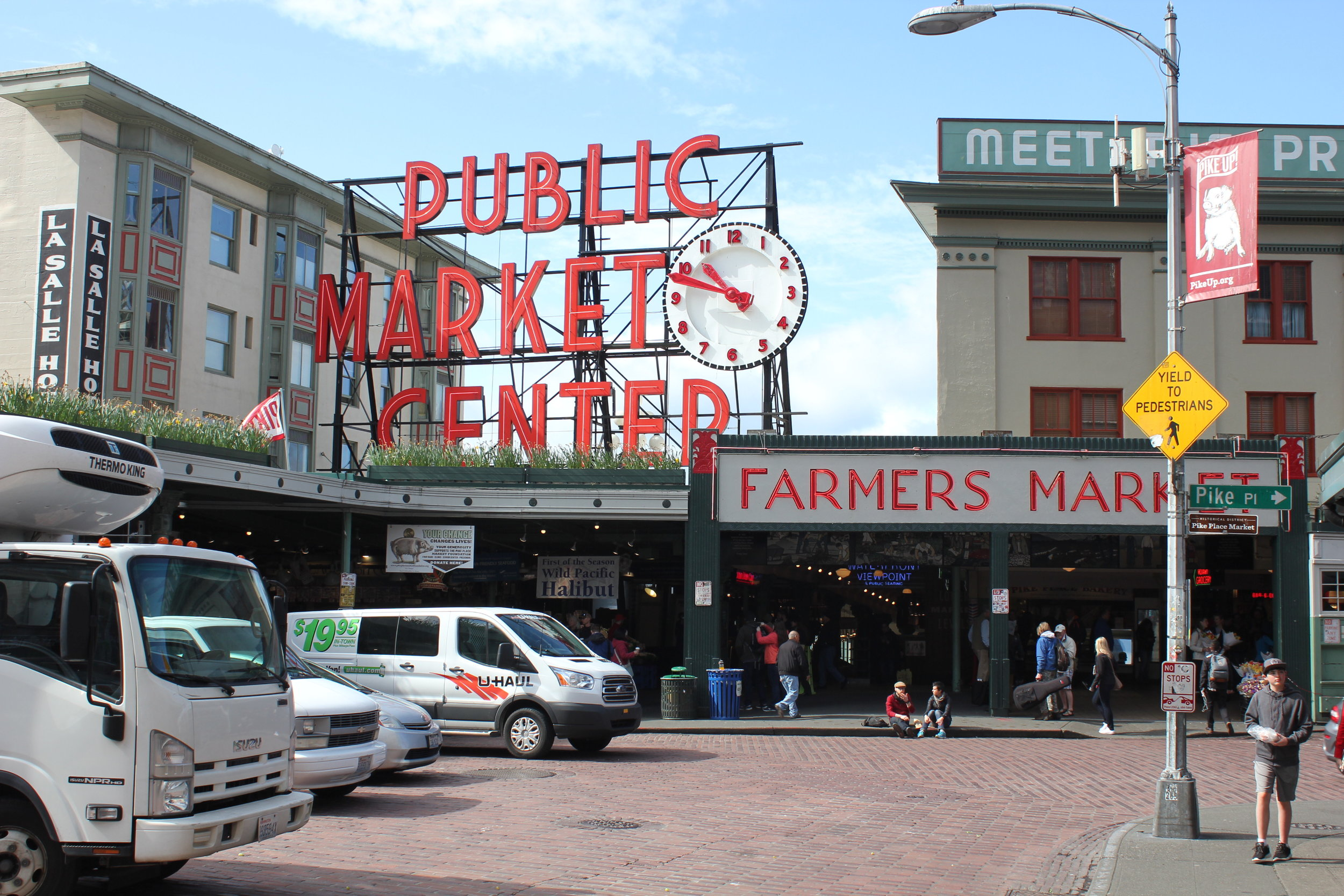 Pike Place Market – Public Market Center sign and clock