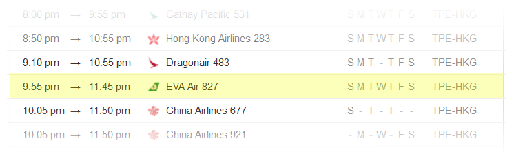 Taipei-to-Hong-Kong-Flight-Schedule
