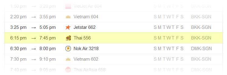 Bangkok-to-Ho-Chi-Minh-City-Flight-Schedule