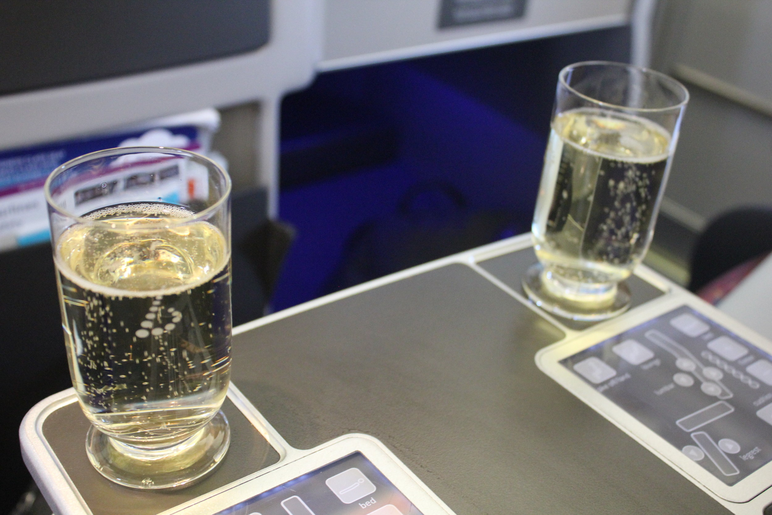 Brussels Airlines business class – Pre-departure champagne