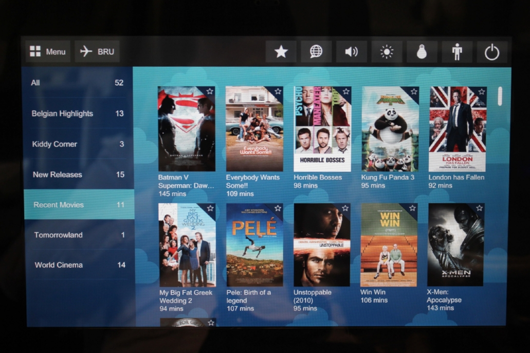 Brussels Airlines business class – Movie selection