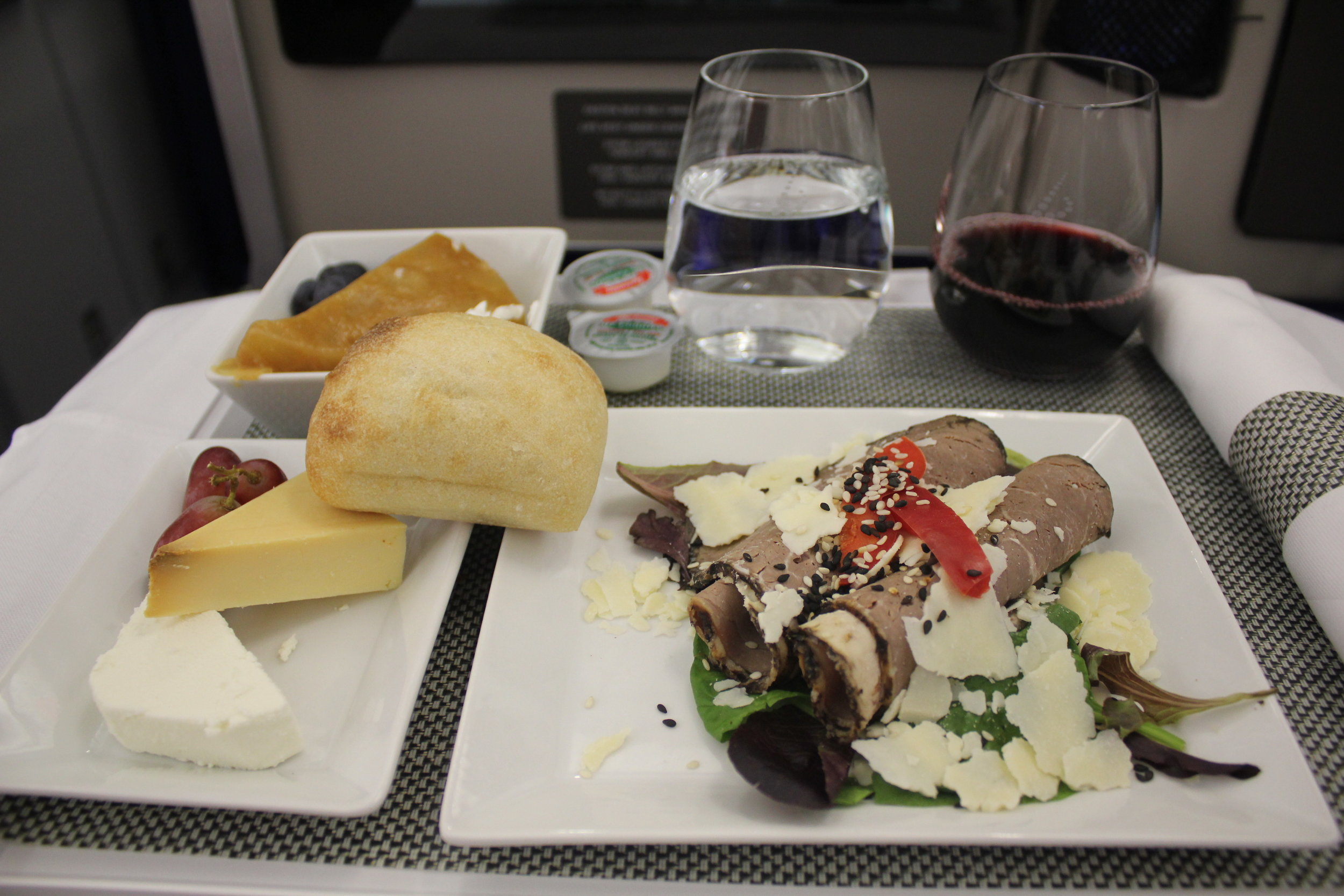 Brussels Airlines business class – Beef carpaccio