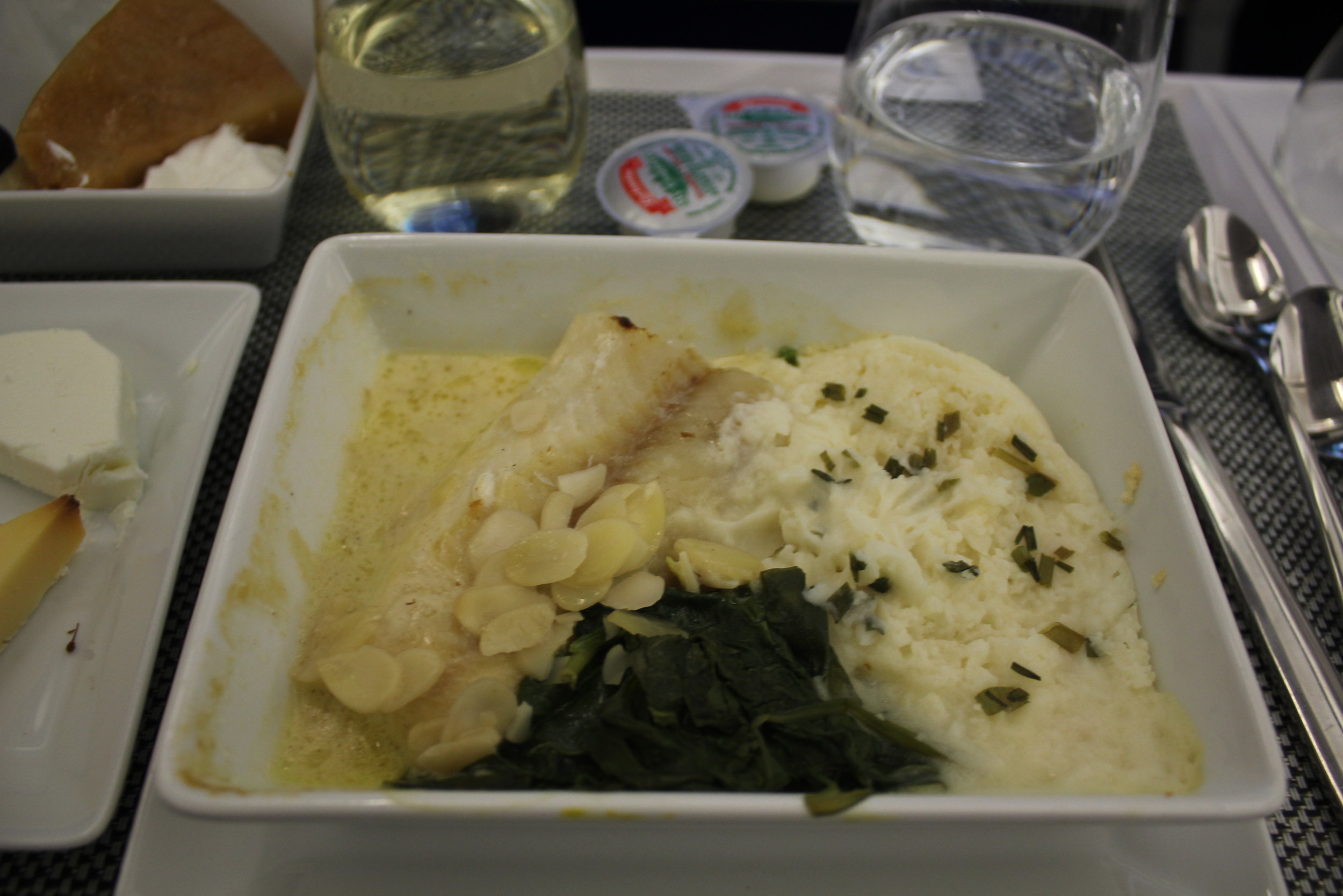 Brussels Airlines business class – Cod in herbed cream sauce