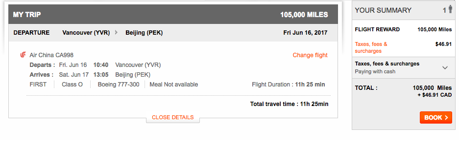 Air China Availability   Prince of Travel   Miles & Points