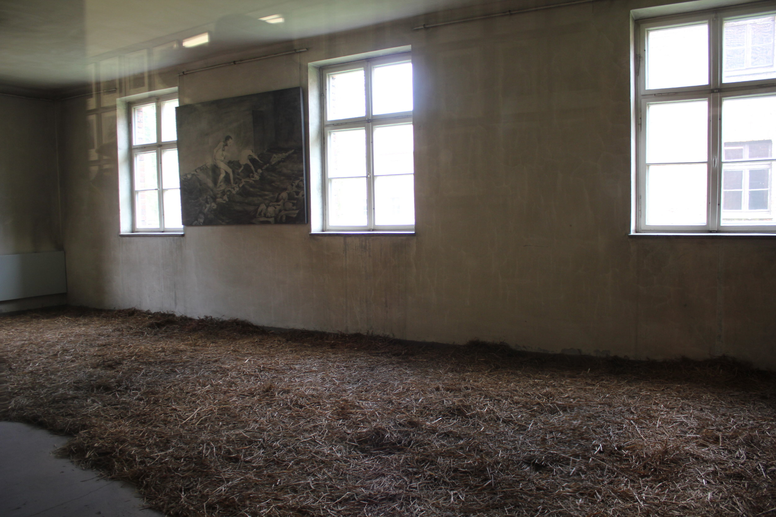 """Straw """"bed"""" upon which prisoners slept every night"""