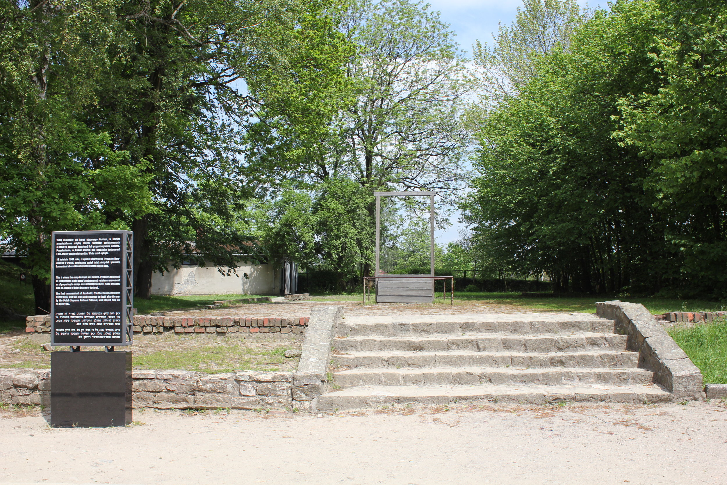 Immediately outside Krema I, the gallows where Rudolf Höss, one of the longest-serving chief commanders of Auschwitz concentration camp, was hung after the war