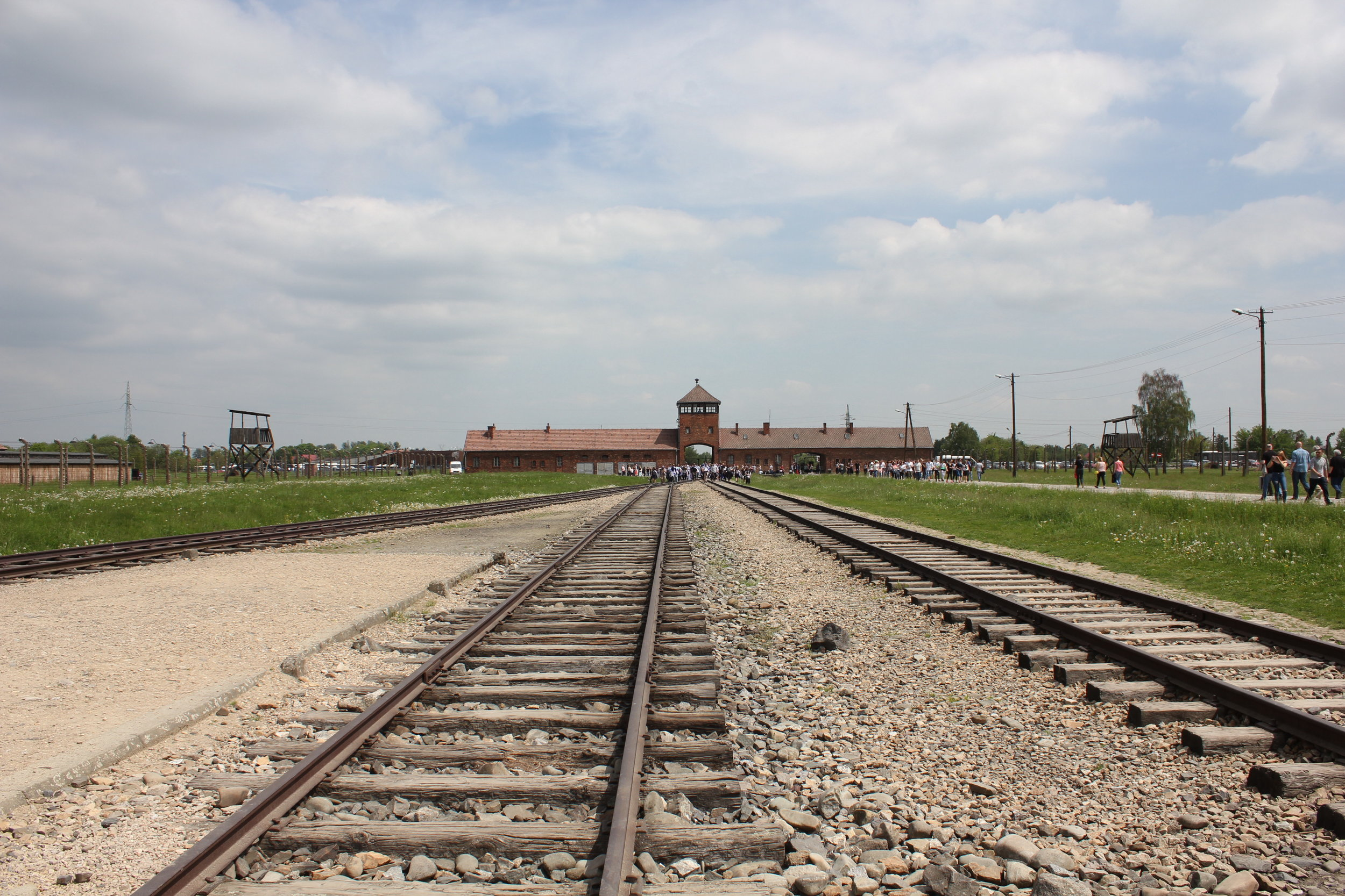 """The """"death gate"""" as viewed from within: the Nazis constructed an entirely new railway spur to transport Jews directly into the Birkenau extermination camp, in order to make the extermination process as efficient as possible"""