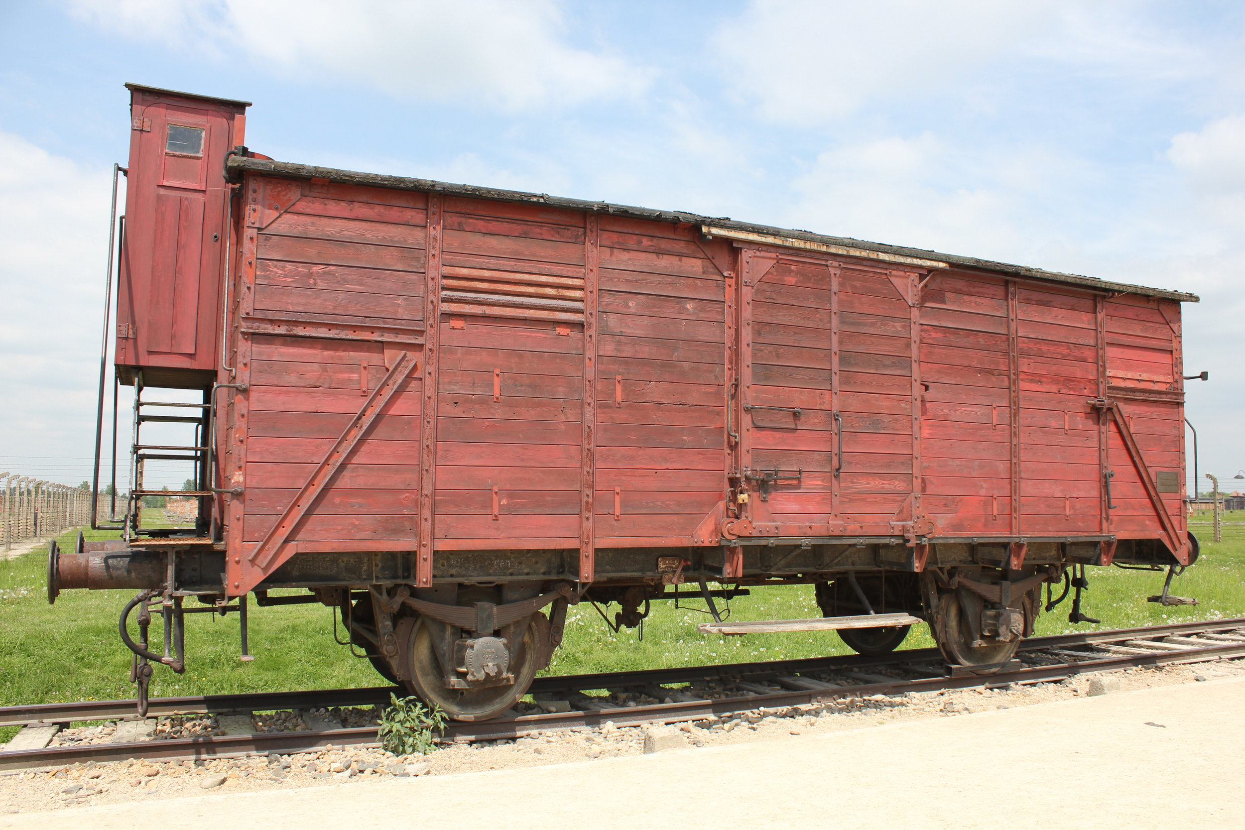 A typical train car that brought Jews to Auschwitz from all over Europe: Jews would be rounded up and packed into these train cars for several days with no food and no room to do anything but stand. The longest journey took 18 days and was made from Crete – upon arrival at Birkenau, everyone was already dead.