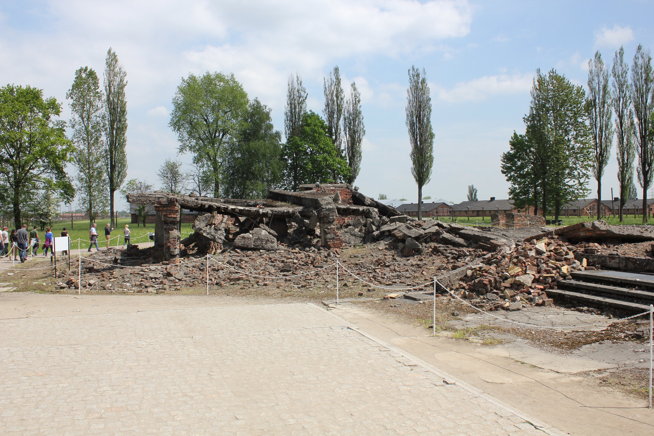 The ruins of Krema II – together with Krema III, this was the largest and deadliest gas chamber at Auschwitz–Birkenau, the site where over 500,000 Jews were gassed to death. Most victims would have walked from the platform where they got off the train directly to these gas chambers.