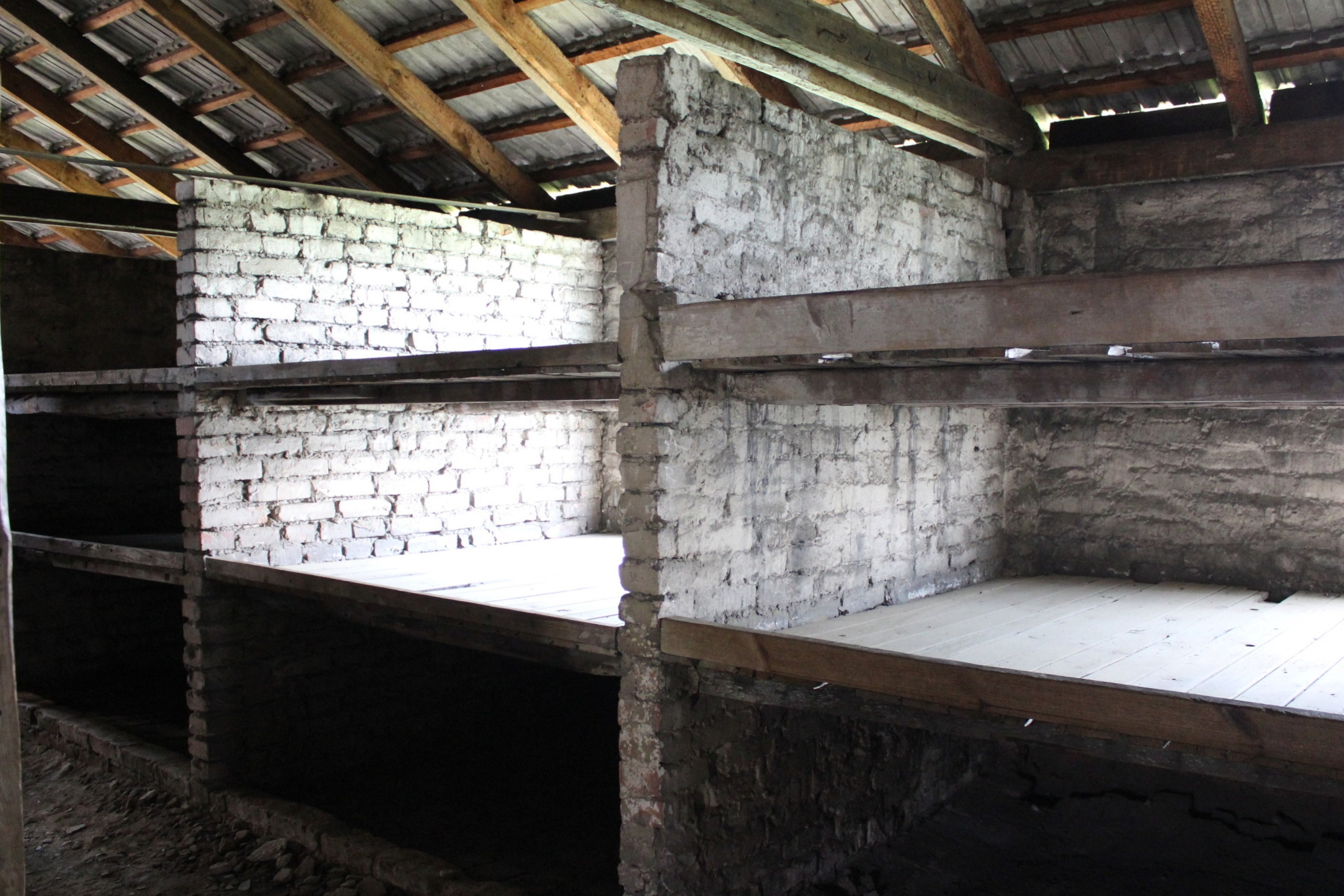 Women had to sleep on these bunks (the lower bunk was no more than cold hard ground) while awaiting their deaths, since the gas chambers were at full capacity due to the masses of arriving Jews. Countless women died here before they could be summoned.
