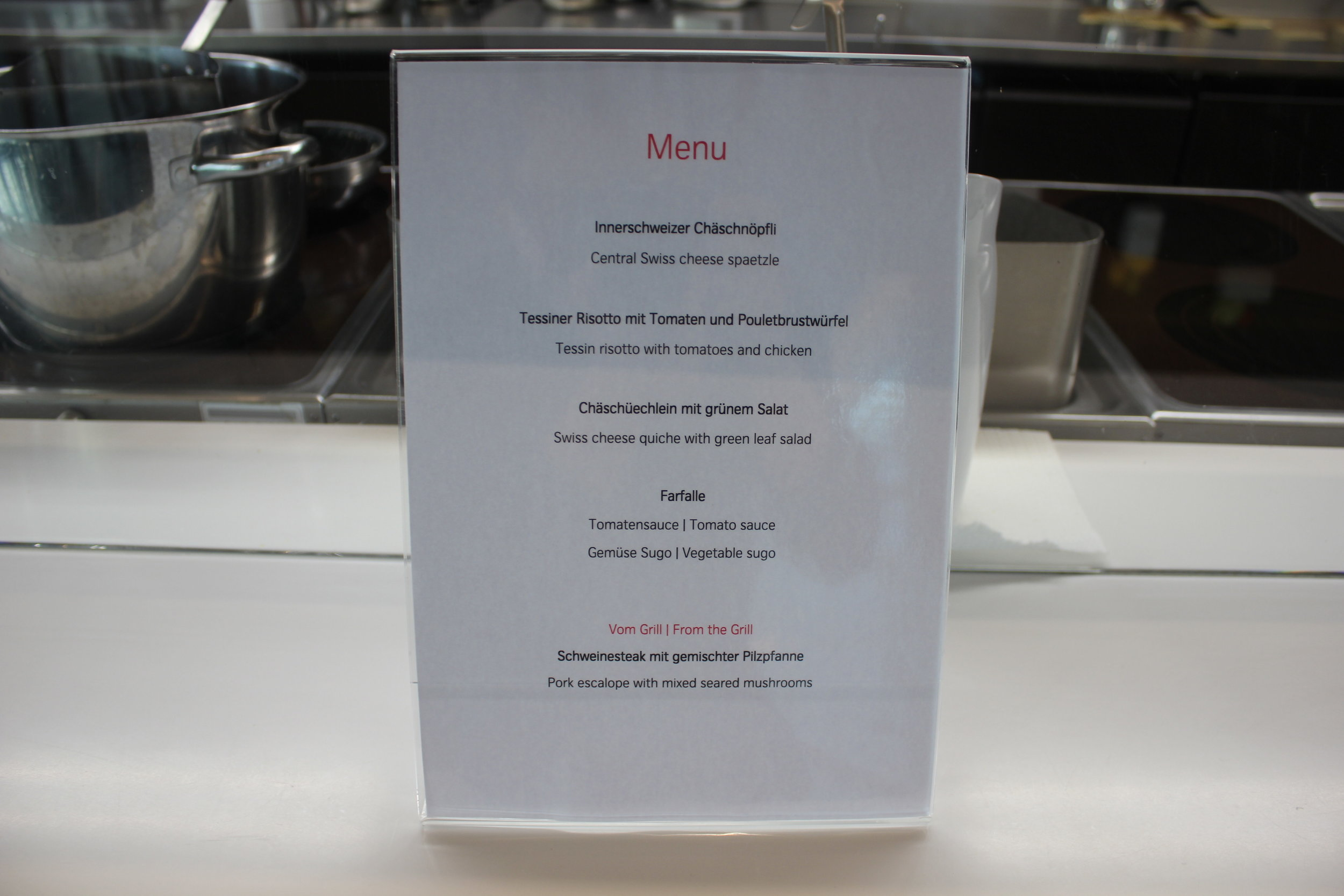 Swiss Senator Lounge Zurich – Dinner menu