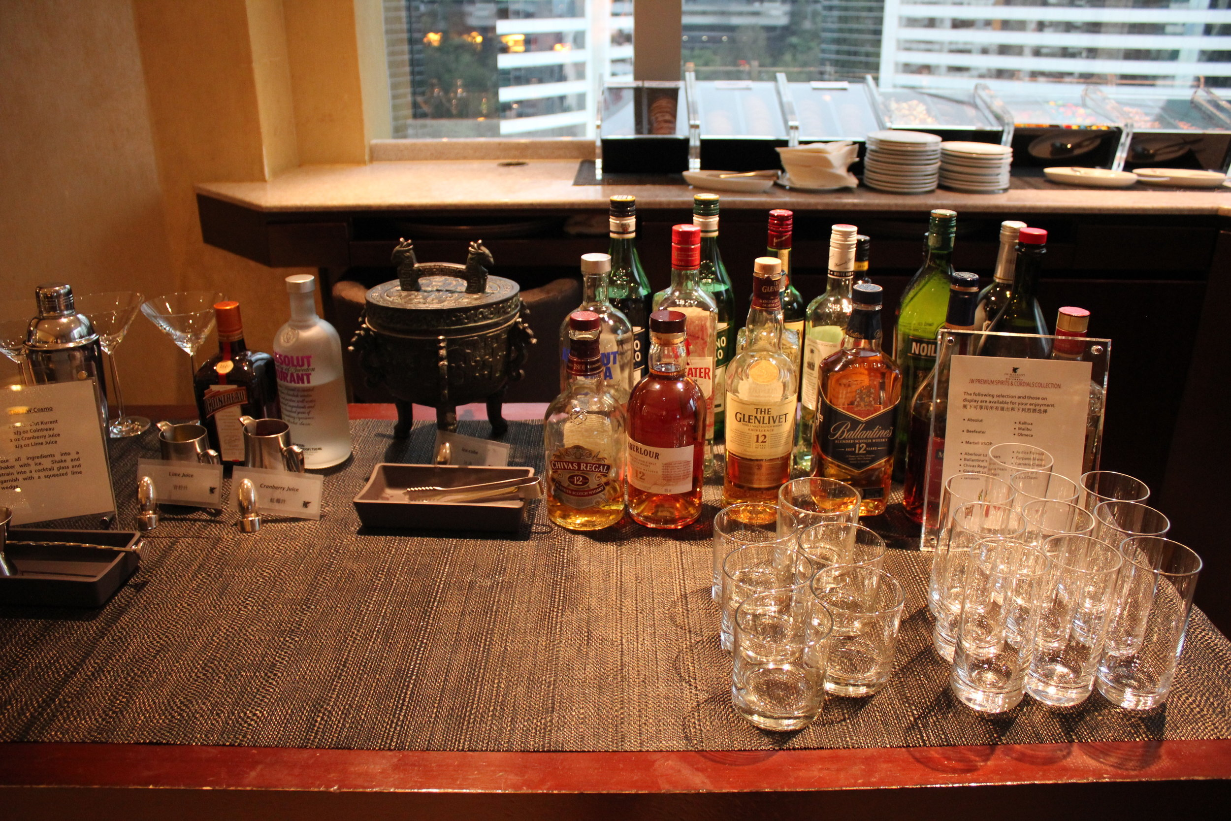 JW Marriott Hong Kong – Executive Lounge self-serve bar