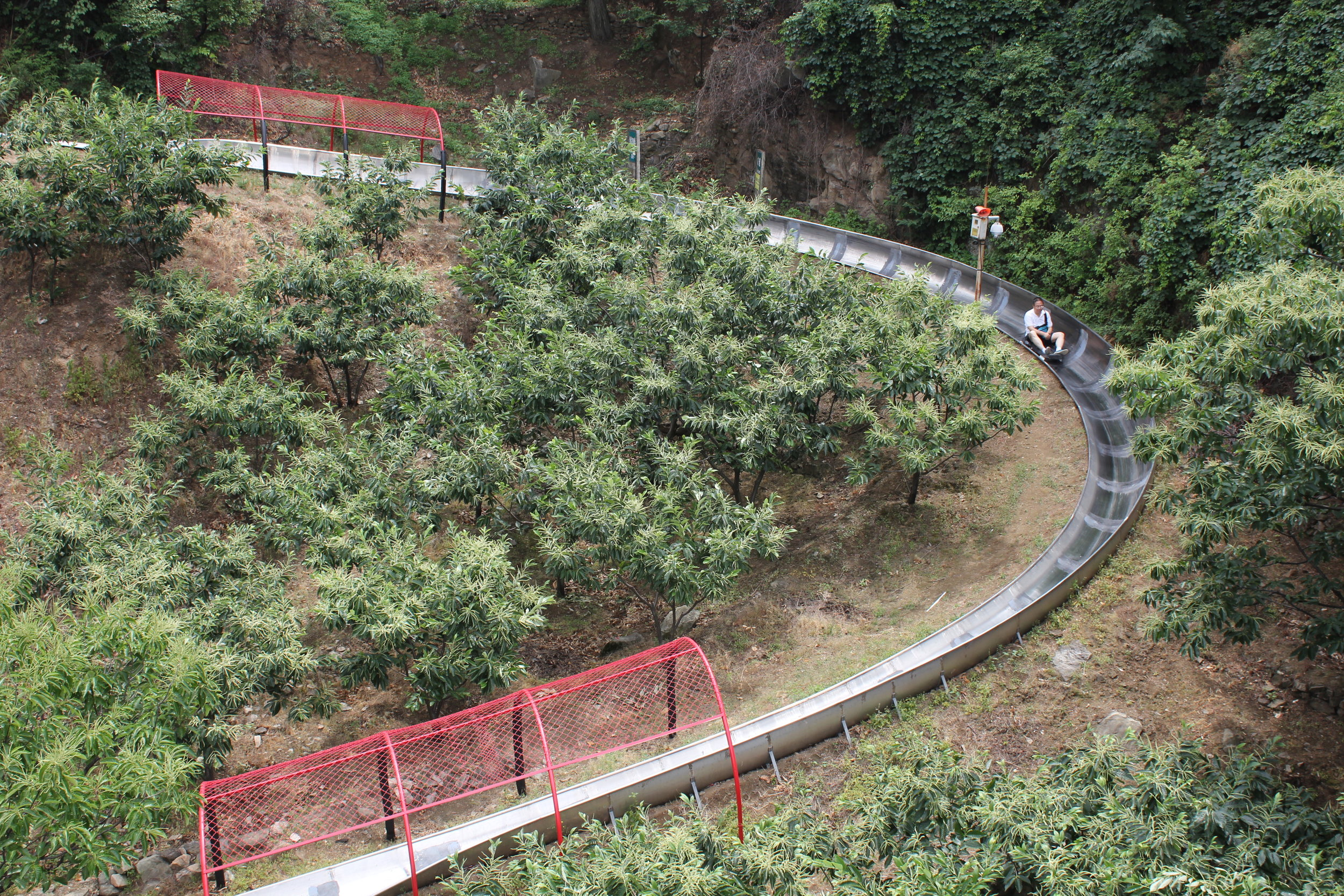 Mutianyu Great Wall – View of toboggan slide from chairlift