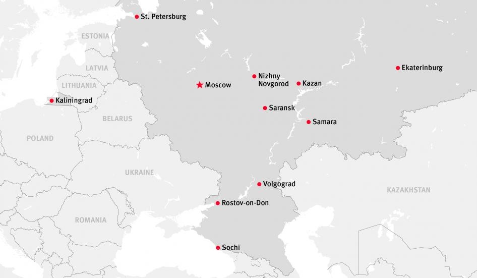 2018 FIFA World Cup Host Cities Map   Prince of Travel   Travel Talk
