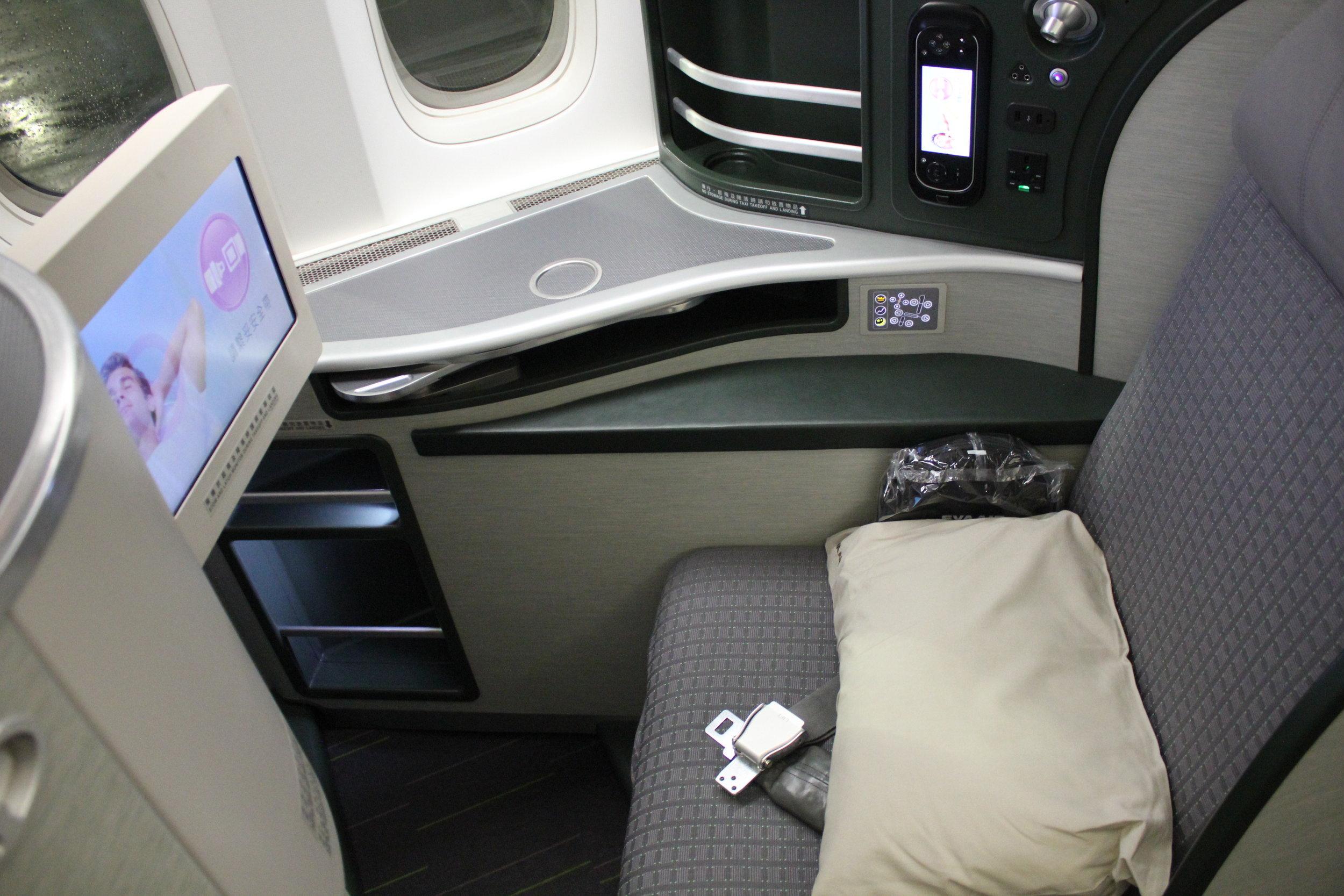 EVA Air business class – Seat 8K