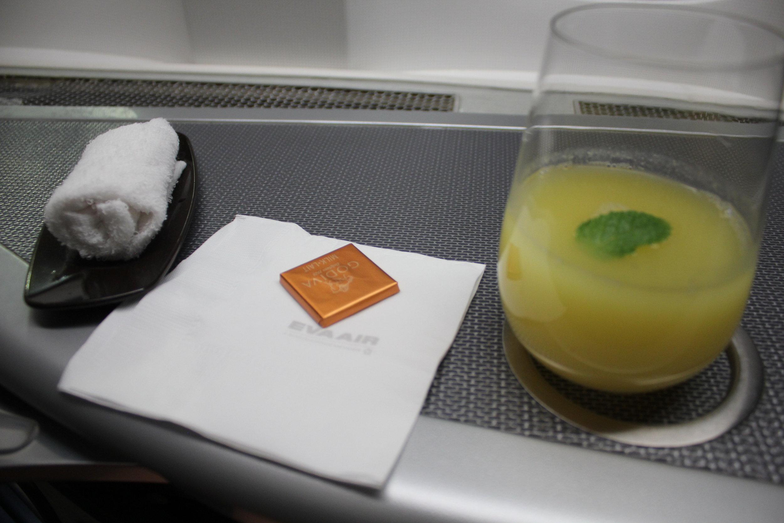 EVA Air business class – Welcome drink