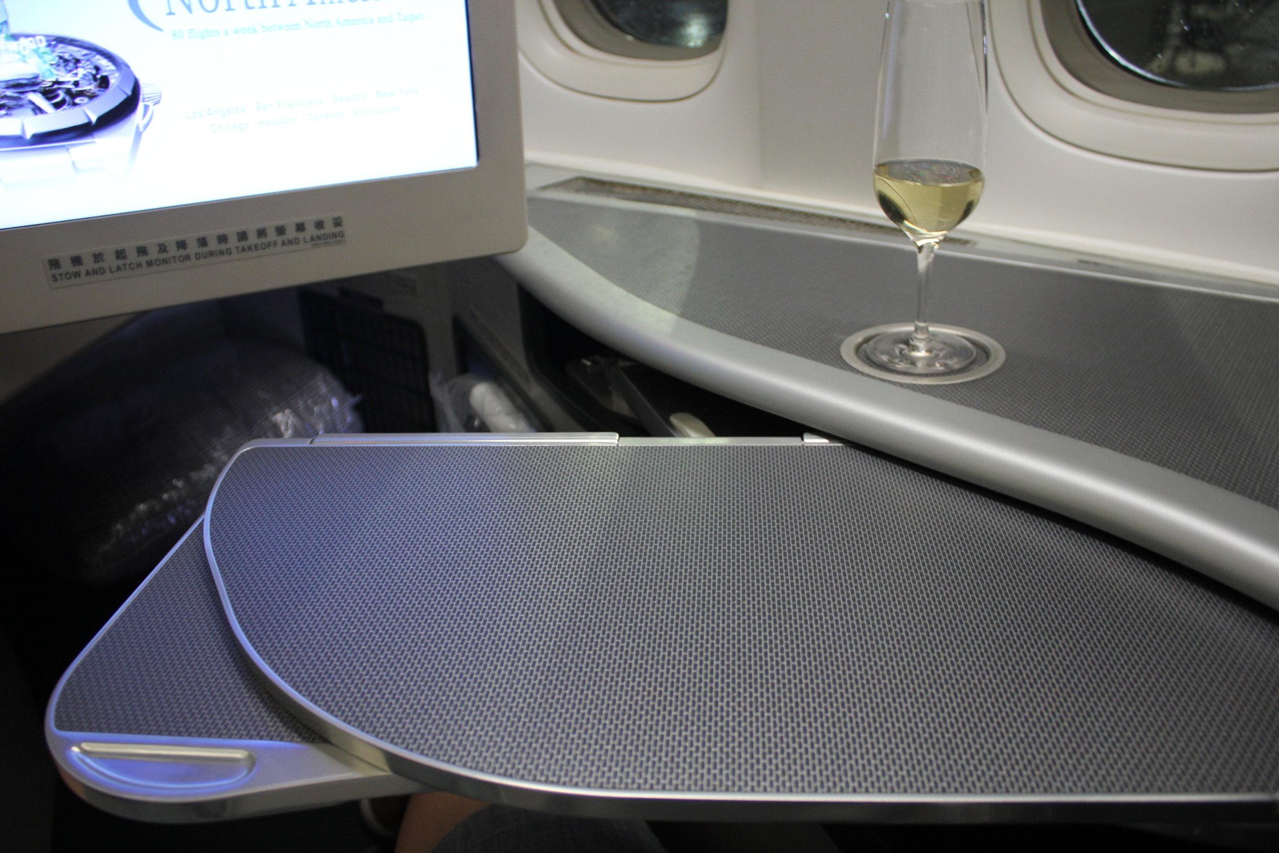 EVA Air business class – Tray table