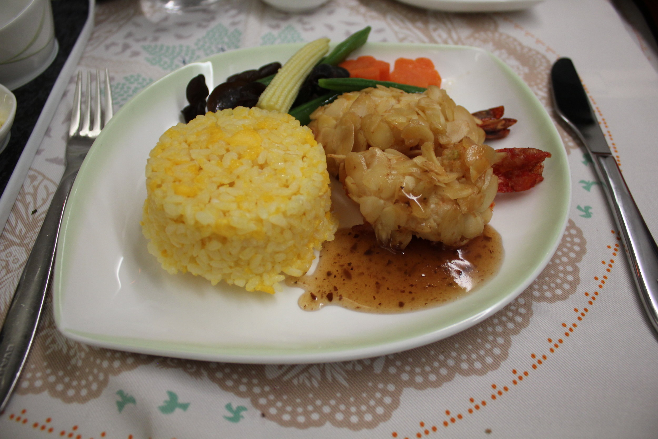 EVA Air business class – Golden fried prawn coated with almond flakes