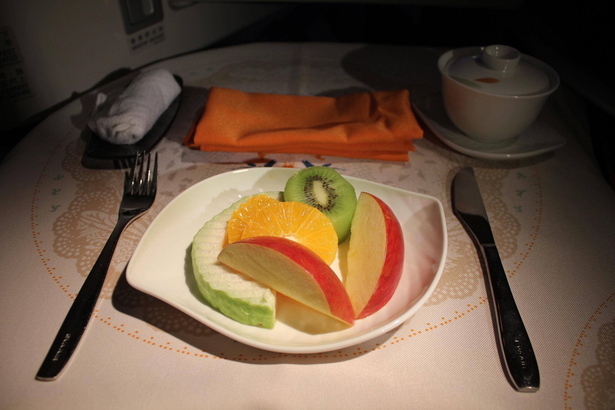 EVA Air business class – Fruit plate