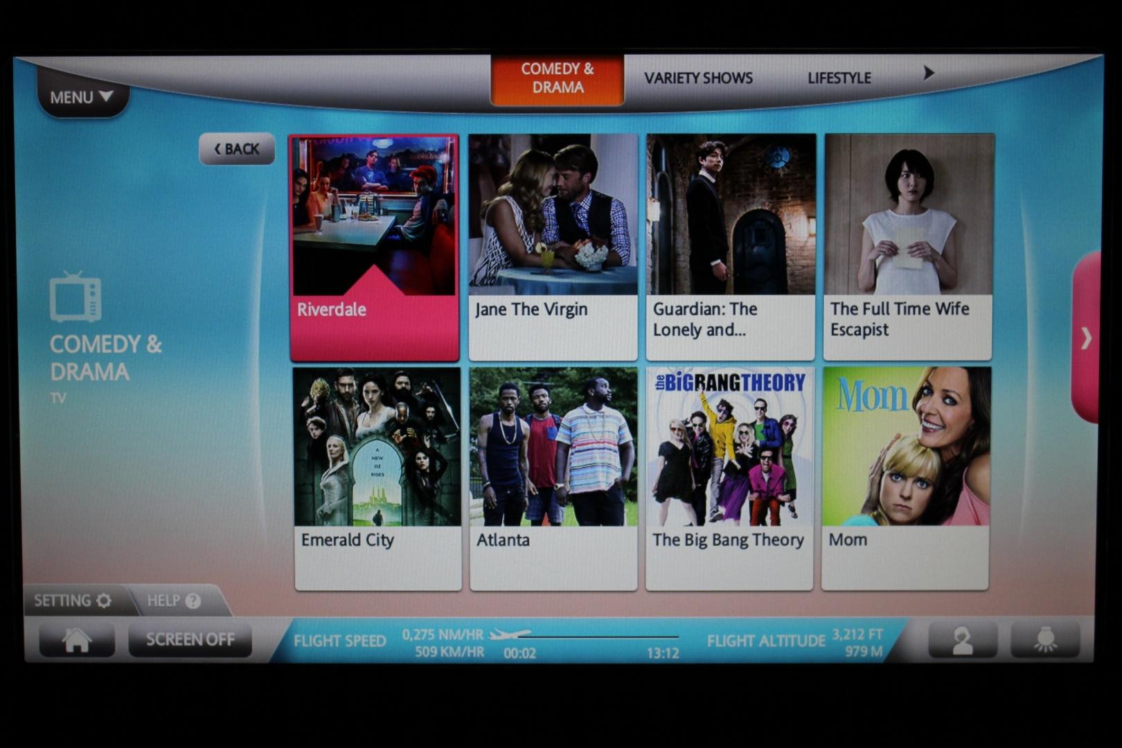 EVA Air business class – TV shows