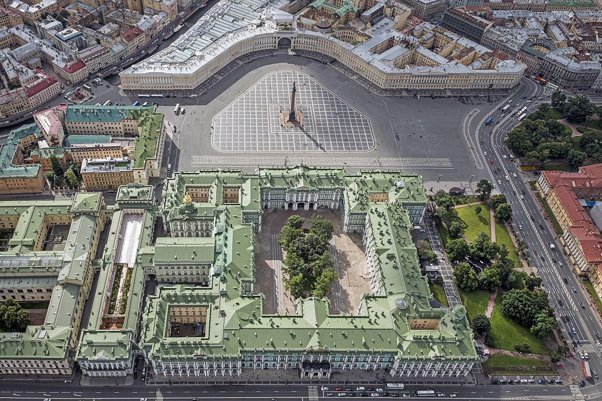 Palace Square, with the General Staff Building (top) and the Winter Palace (bottom)