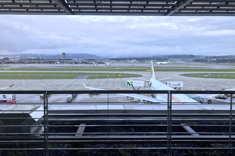 Swiss First Class Lounge Zurich – View of Air Canada A330