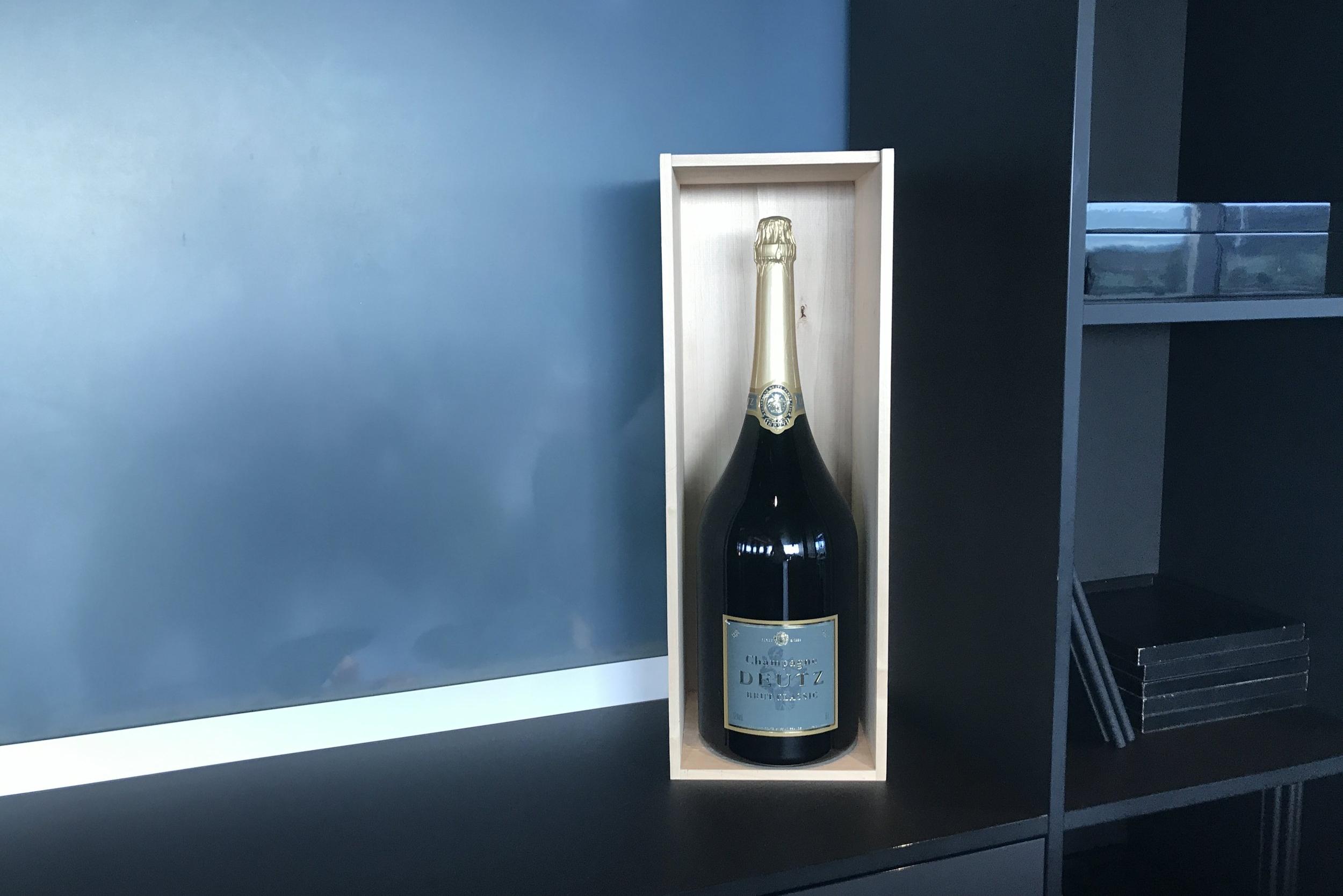Swiss First Class Lounge Zurich – Giant bottle of Deutz champagne
