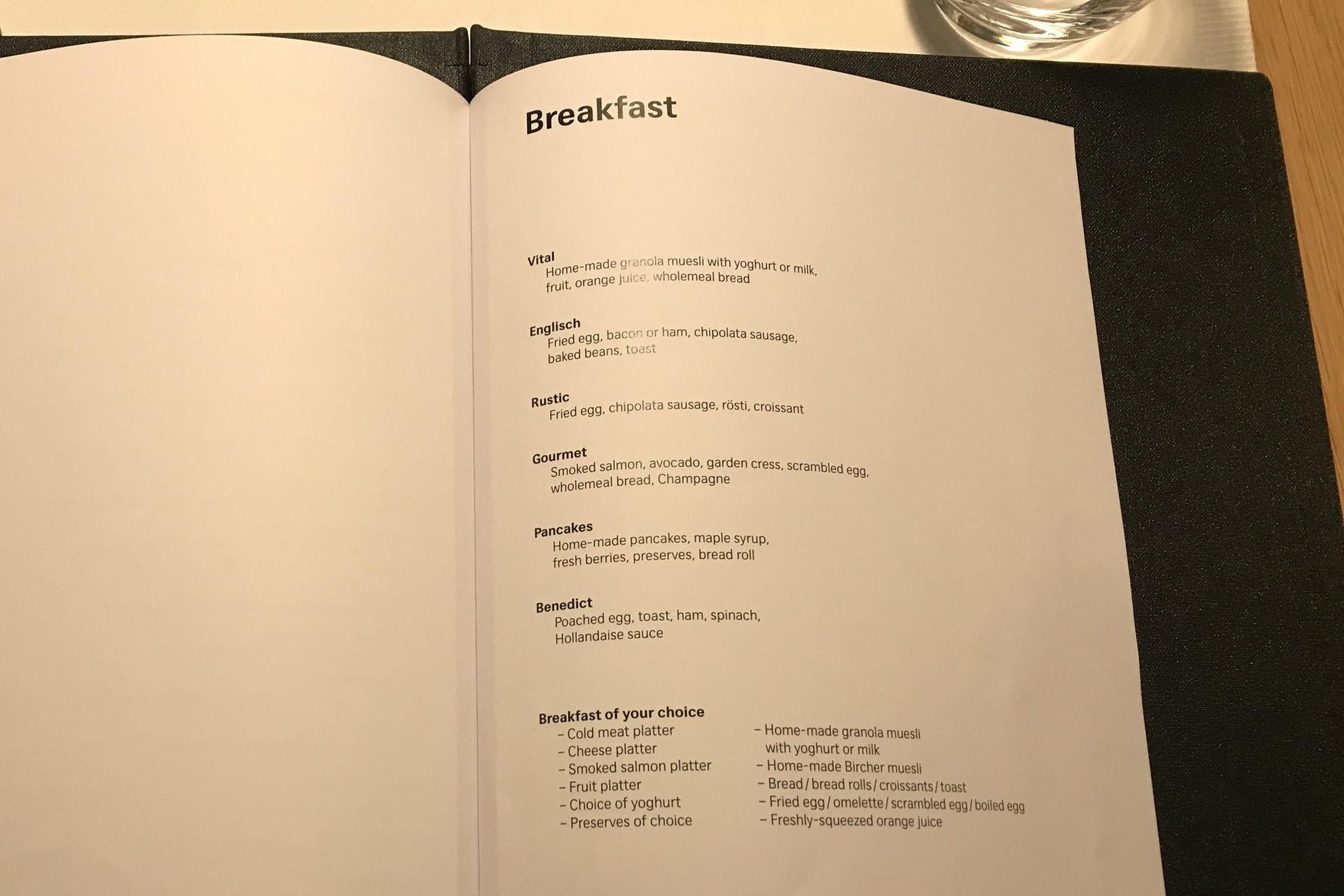 Swiss First Class Lounge Zurich – Breakfast menu