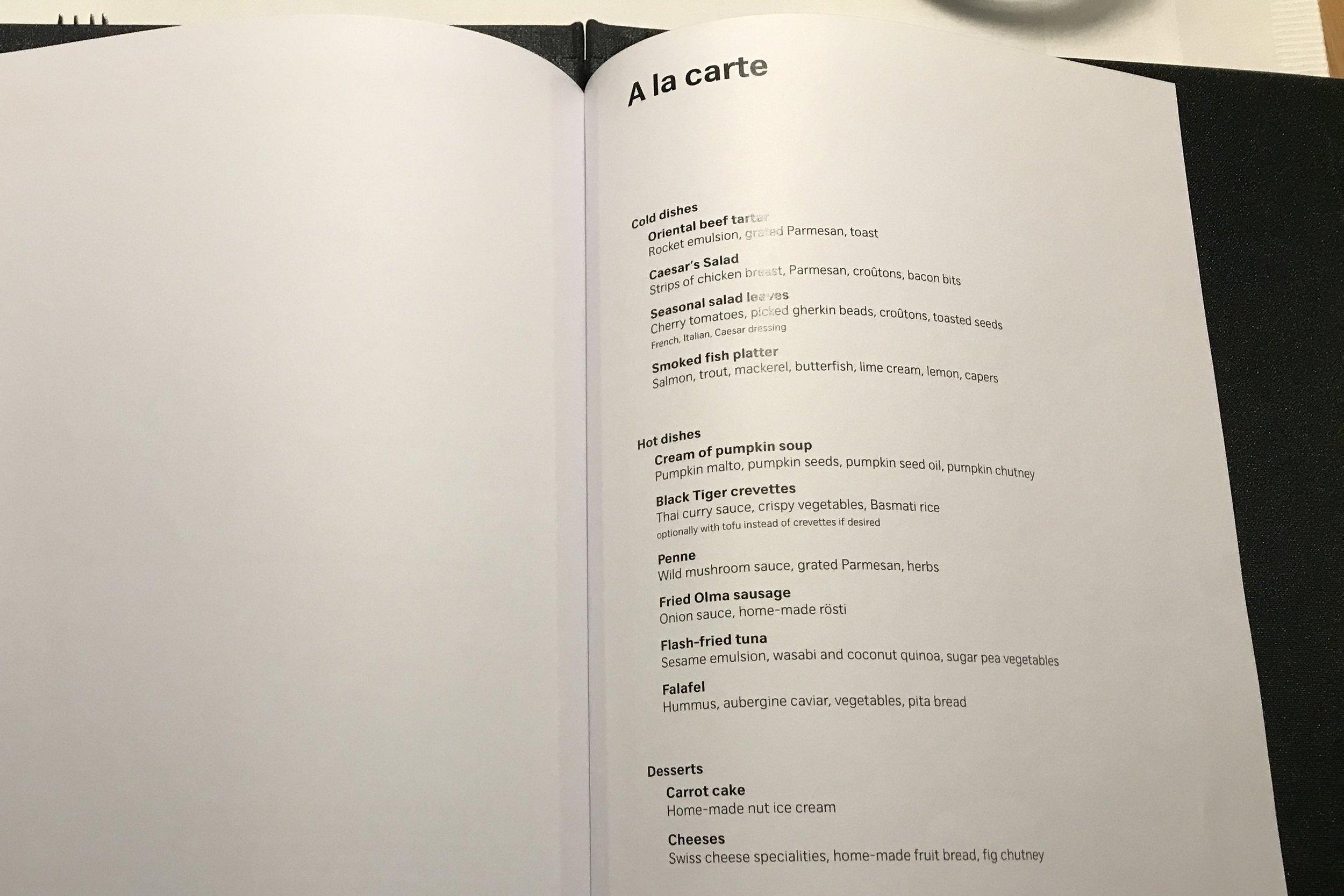 Swiss First Class Lounge Zurich – À la carte menu