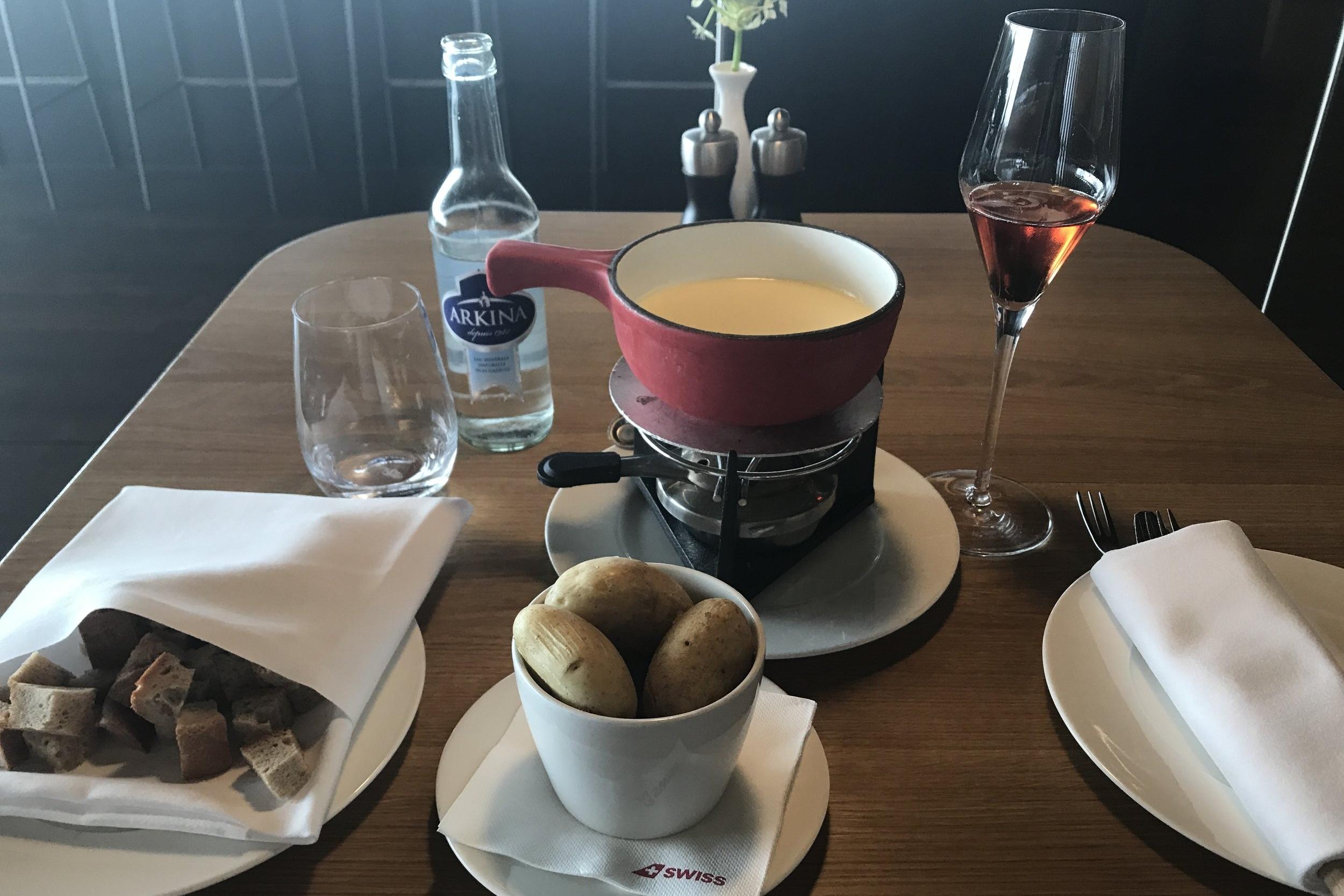 Swiss First Class Lounge Zurich – Cheese fondue