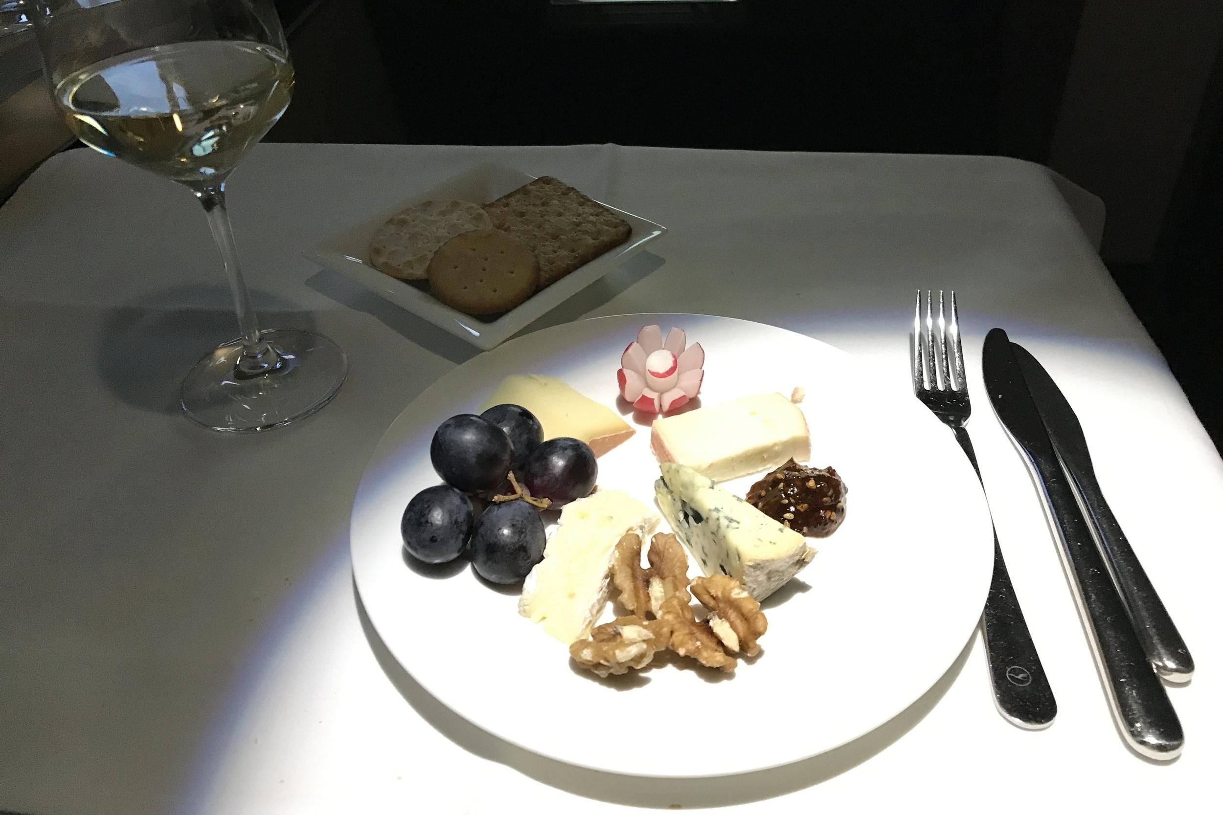 Lufthansa First Class – Cheese plate