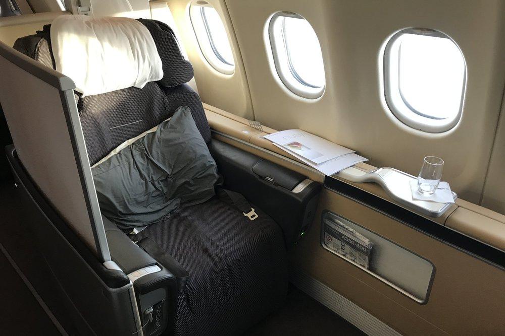 The Lufthansa First Class suite, mid-flight