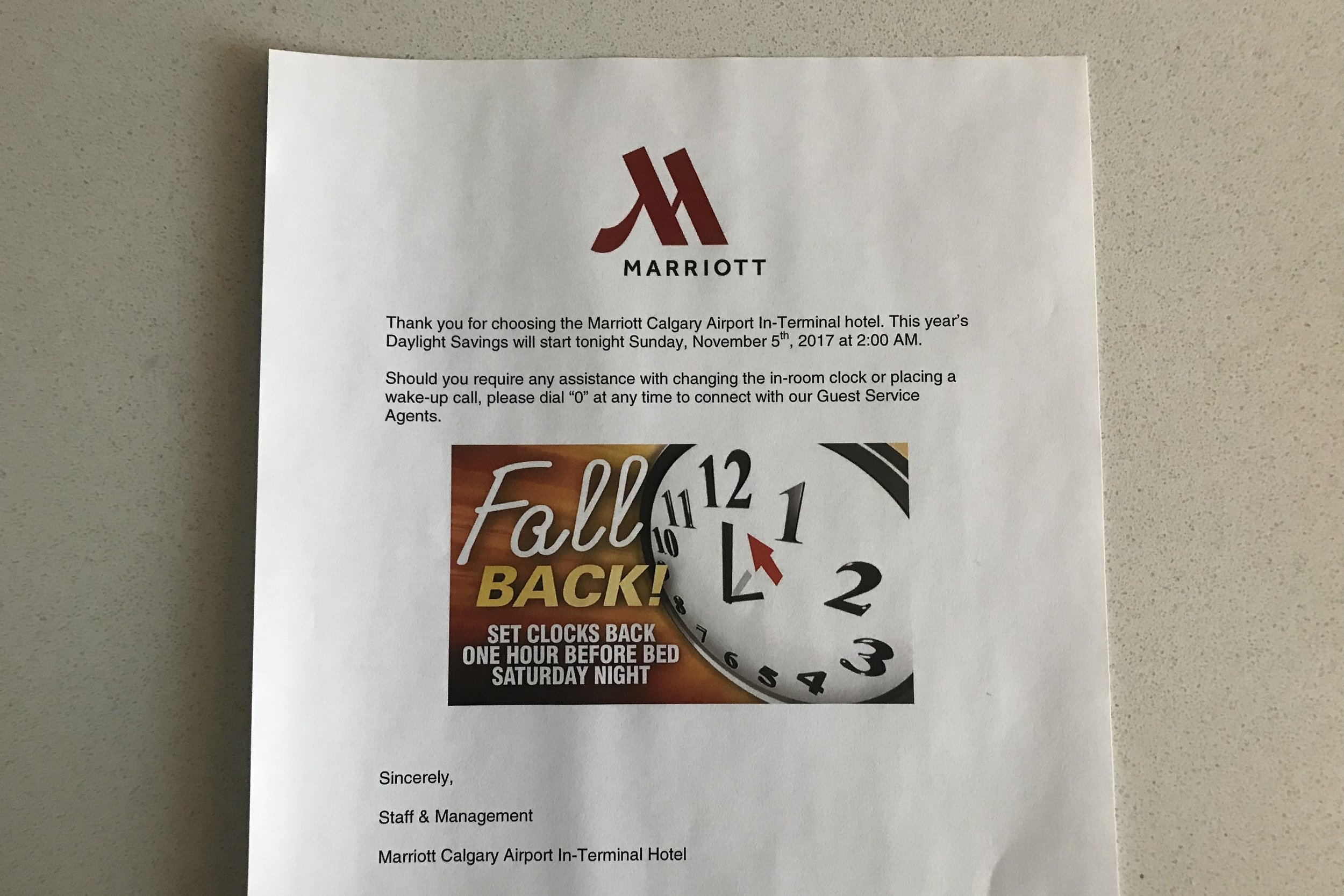 Marriott In-Terminal Hotel Calgary Airport – A kind note