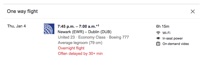 United-Flight-Newark-Dublin