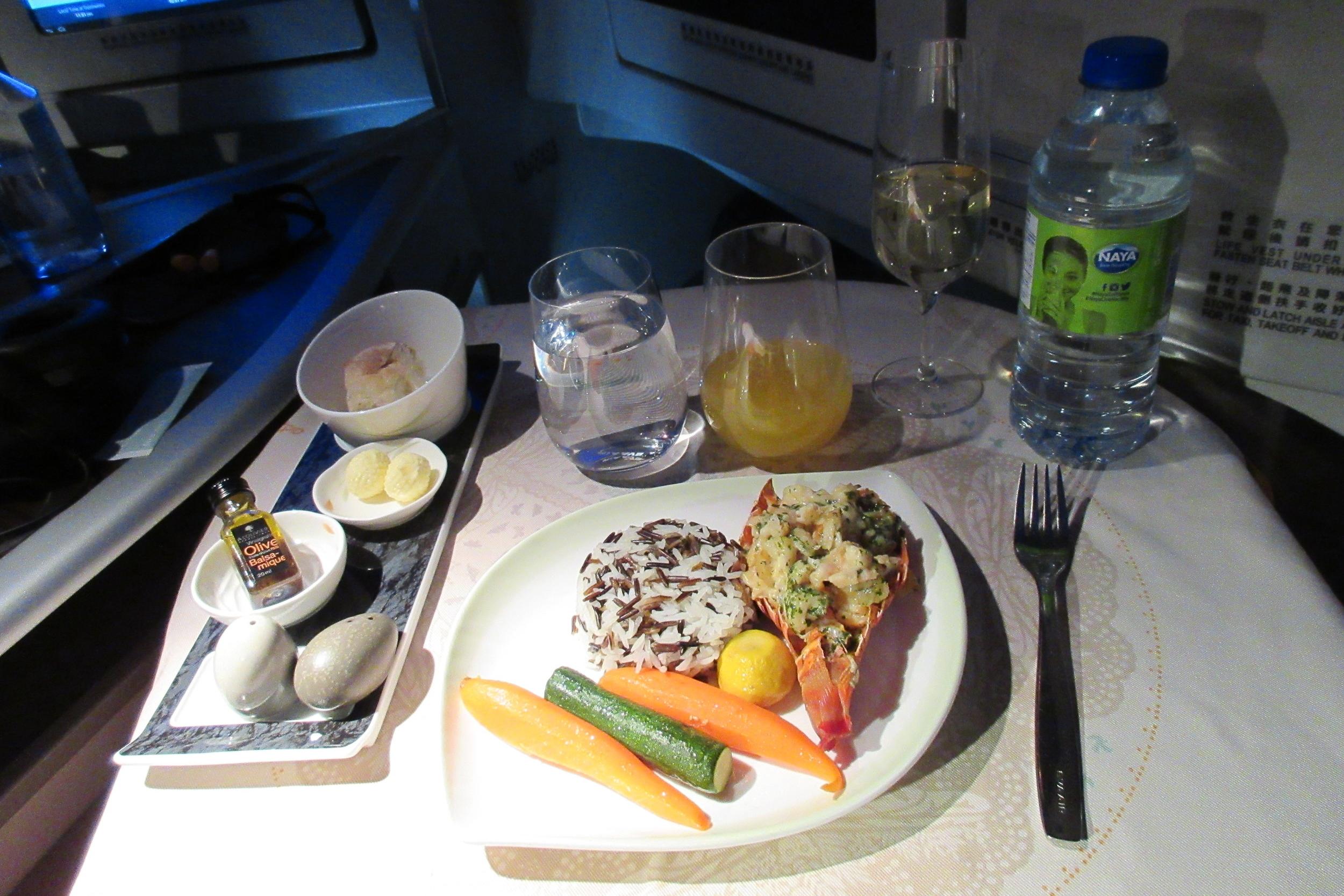EVA Air business class Toronto to Taipei – Lobster Thermidor