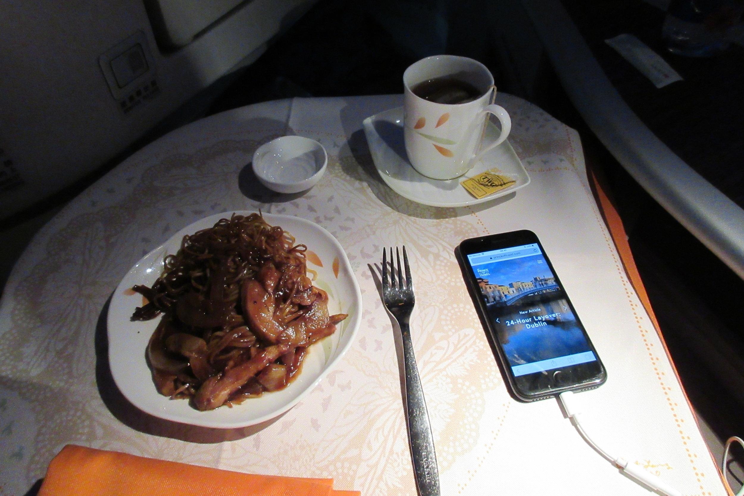 EVA Air business class Toronto to Taipei – Stir fried noodles with chicken