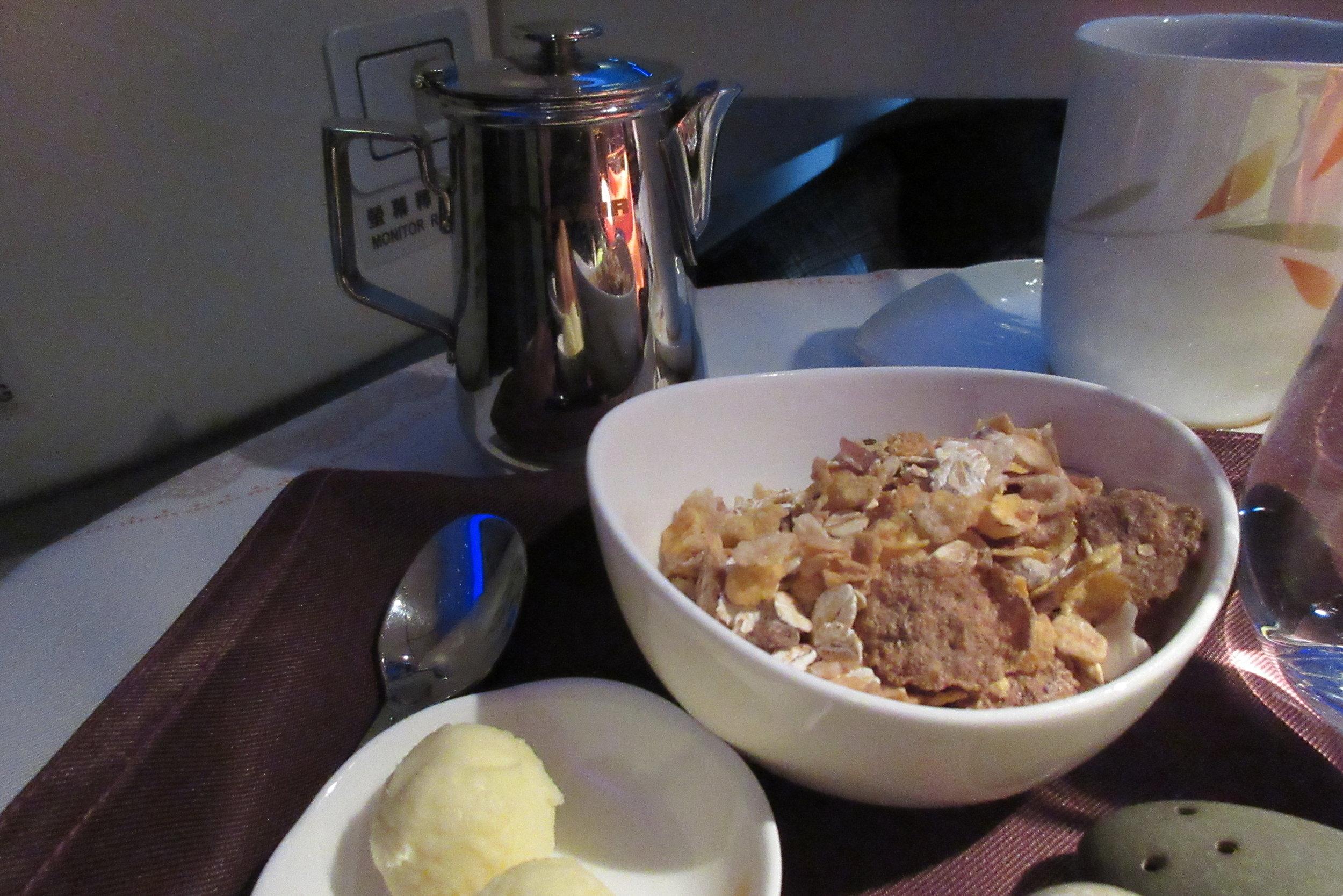 EVA Air business class Toronto to Taipei – Muesli