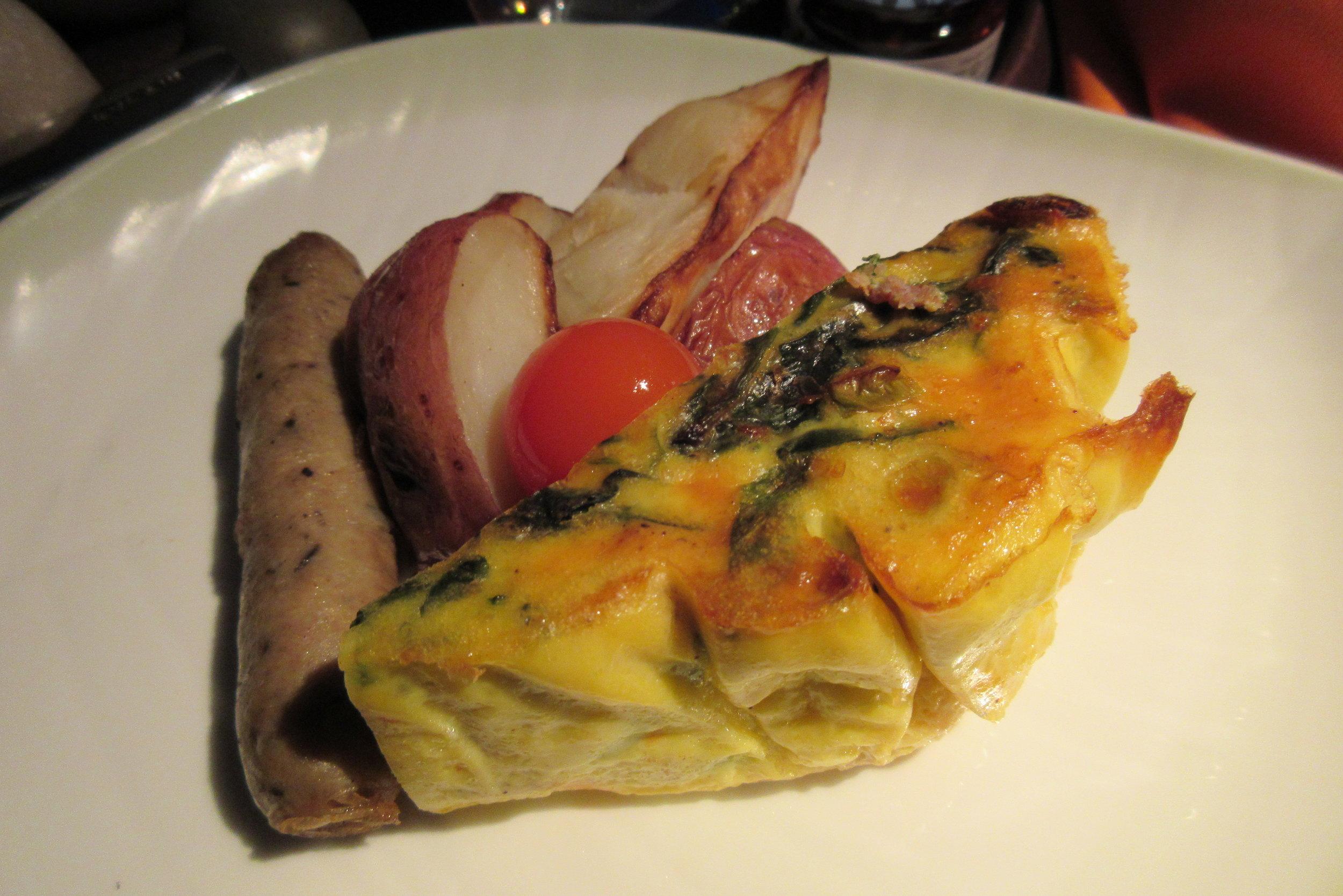 EVA Air business class Toronto to Taipei – Spinach and mozzarella frittata