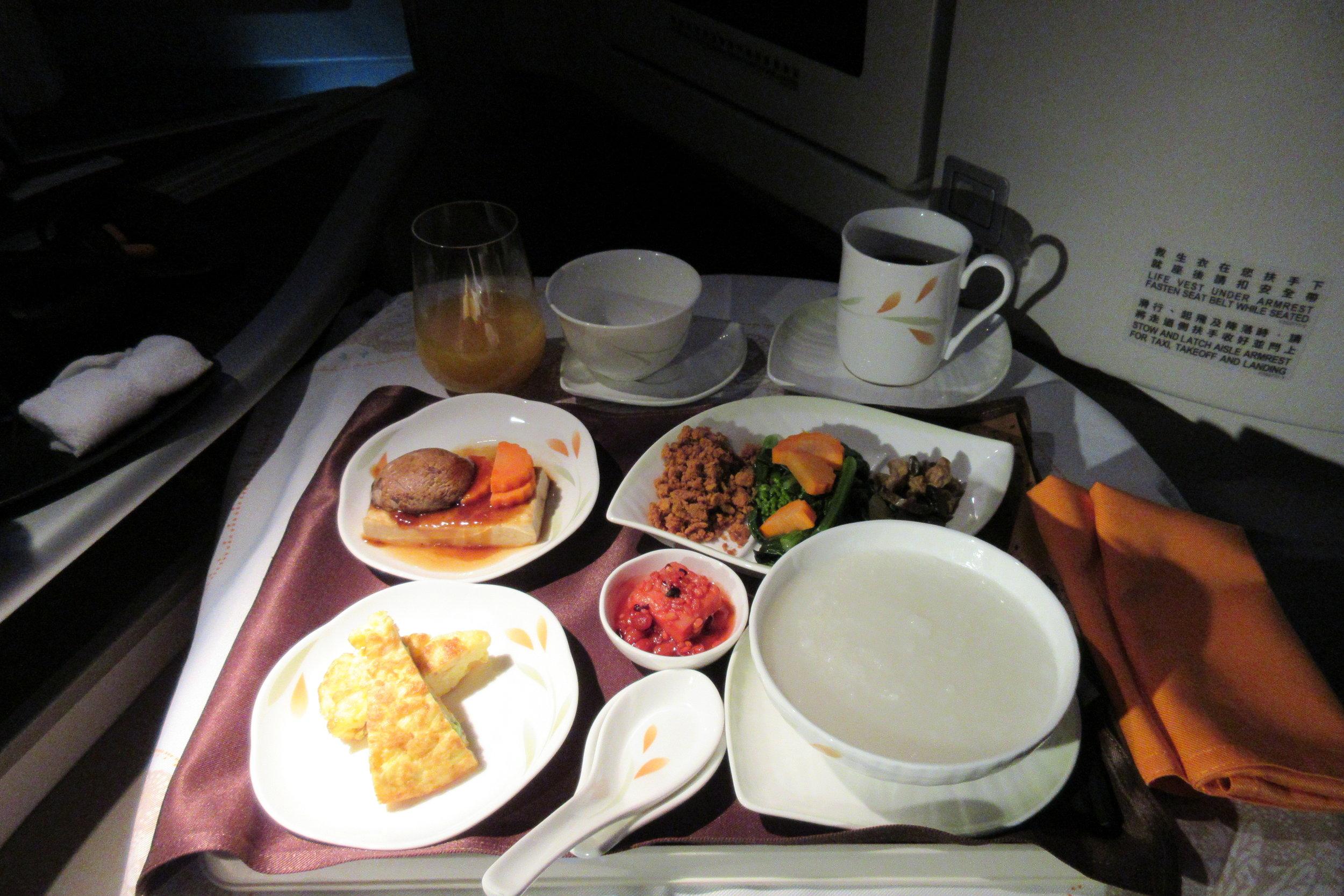 EVA Air business class Toronto to Taipei – Chinese breakfast