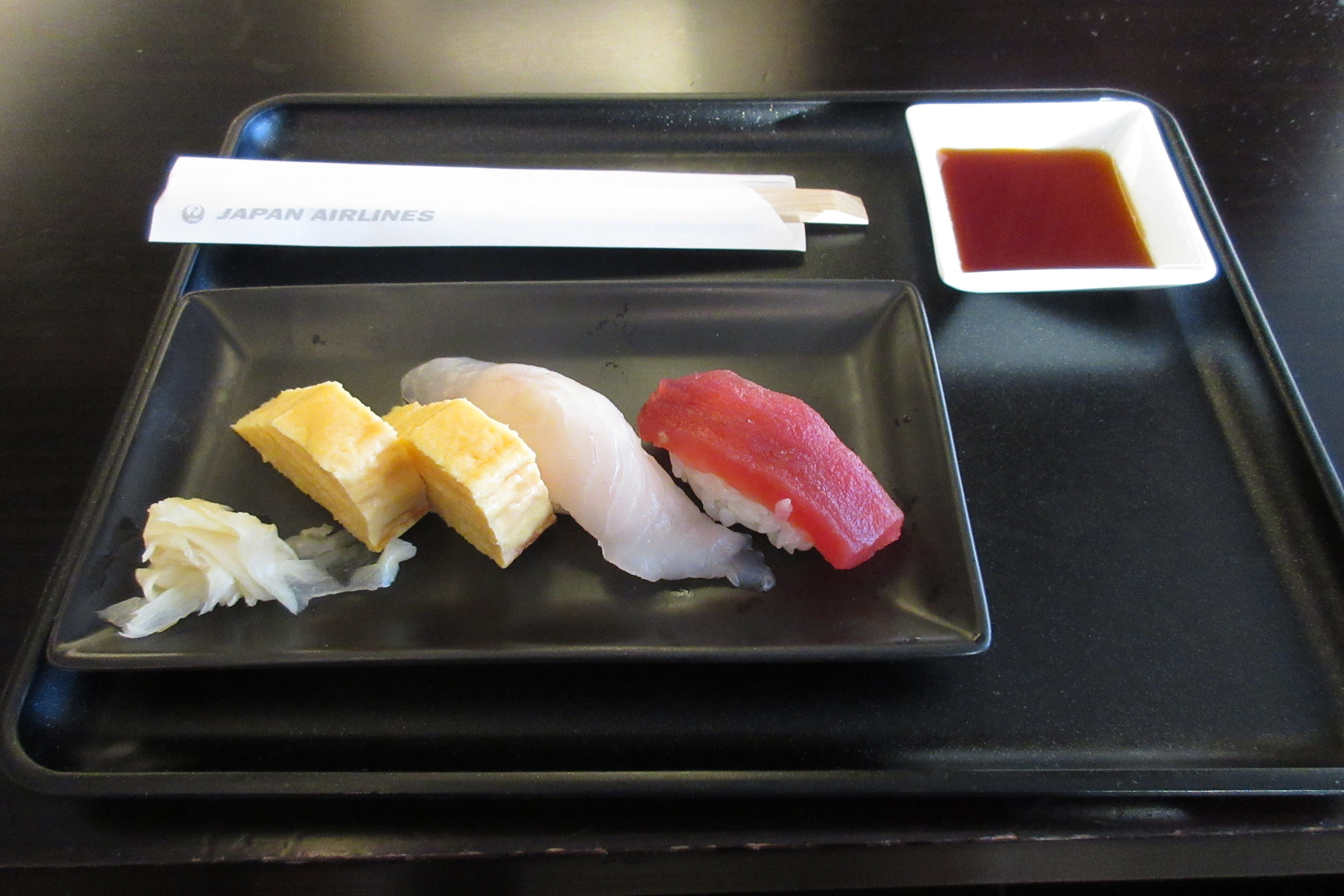 Sushi in the Japan Airlines First Class Lounge